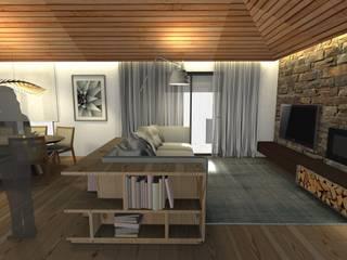 Vista da sala de estar: Salas de estar  por Form Arquitetura e Design,Campestre