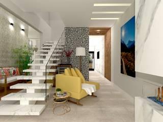 Living aconchegante Talita Kvian Salas de estar modernas Amarelo
