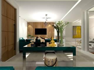 Living aconchegante Talita Kvian Salas de estar modernas Vidro Branco