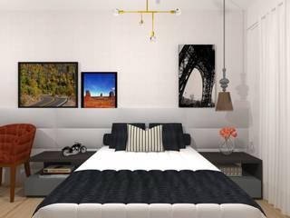 Suite casal Talita Kvian Quartos modernos Cinza