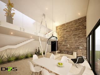 Dining room by DOS Arquitectura y construcción, Minimalist