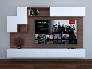 Centro TV - Parota + MDF blanco de Bombilla Taller de diseño Ecléctico