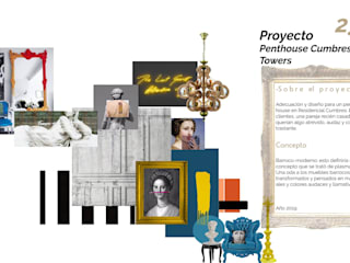 Penthouse barroco-moderno: Salas de estilo  por Andrea Loya, Ecléctico