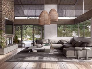 Finca Jimenez Salones minimalistas de HC Arquitecto Minimalista