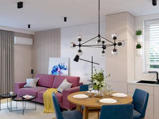 Mieszkanie 69m2 w Rzeszowie Nowoczesny salon od MACZ Architektura - Architekt wnętrz Rzeszów Nowoczesny