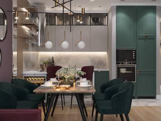 Дизайн проект трехкомнатной квартиры в ЖК Барселона Кухни в эклектичном стиле от Студия дизайна Кристины Артебякиной Эклектичный