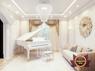 Gorgeous Piano Room in Clean Royal Interior:   by Luxury Antonovich Design,