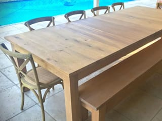Solid Oak Patio Table: rustic  by Jackal Tree, Rustic
