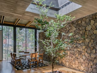 Saavedra Arquitectos Ruang Makan Modern Beton Grey