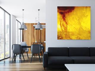 Neues Raumgefühl mit moderner Kunst, die den Schall absorbiert Moderne Wohnzimmer von freiraum Akustik Modern