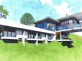 Casa de Campo Moderna - Condomínio Espelhos D'Água : Casas do campo e fazendas  por ARUS Associados Ltda.,Moderno