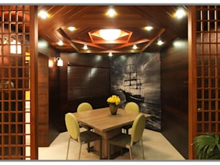 Elegant interior for 2 BHK Flat in Supreme Green Wood NIBM Pune Classic style dining room by AARAYISHH Classic