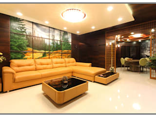Elegant interior for 2 BHK Flat in Supreme Green Wood NIBM Pune:  Living room by AARAYISHH (Mumbai & Pune),Classic