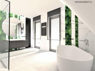 Łazienka na poddaszu Wkwadrat Architekt Wnętrz Toruń Nowoczesna łazienka Kamień Czarny