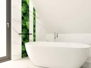 Łazienka na poddaszu Wkwadrat Architekt Wnętrz Toruń Nowoczesna łazienka Marmur Biały