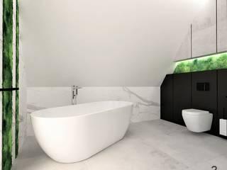 Łazienka na poddaszu Nowoczesna łazienka od Wkwadrat Architekt Wnętrz Toruń Nowoczesny Beton