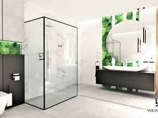 Łazienka na poddaszu Wkwadrat Architekt Wnętrz Toruń Minimalistyczna łazienka Drewno Biały