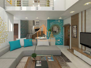 3d views:  Living room by Sky architects,Modern