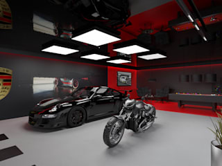Men's Cave Nowoczesny garaż od MOONFIELD STUDIO Nowoczesny