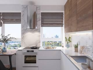 Студия дизайна 'INTSTYLE' ห้องครัว ไม้ White