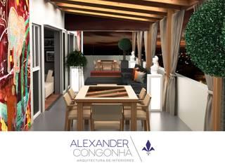 Terraza, bar y sala familiar en Penthouse San Borja Balcones y terrazas mediterráneos de Alexander Congonha Mediterráneo
