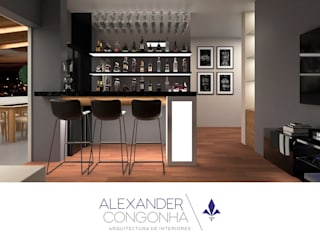 Terraza, bar y sala familiar en Penthouse San Borja de Alexander Congonha Moderno