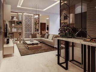 Prestige Silver Oak Modern Corridor, Hallway and Staircase by De Panache - Interior Architects Modern