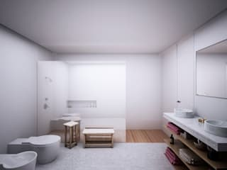Vivienda a orillas del Mediterráneo Baños de estilo minimalista de S-AART Minimalista