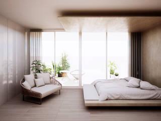 Vivienda a orillas del Mediterráneo Dormitorios de estilo minimalista de S-AART Minimalista