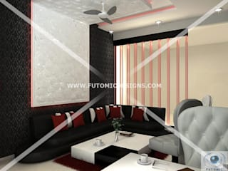Modern Style Interiors By Futomic:  Living room by Futomic Design Services Pvt. Ltd.,Modern