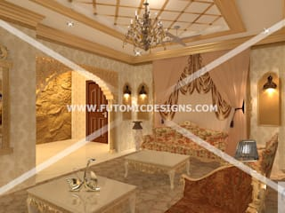 Royal Bunglow Interiors By Futomic:  Living room by Futomic Design Services Pvt. Ltd.,Classic