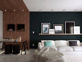 Projeto de interiores - Living e cozinha: Salas de estar  por Arquiteta Mônica Lunkes,Moderno