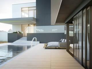 Modernistyczny dom jednorodzinny z basenem od Budownictwo i Architektura Marcin Sieradzki - BIAMS Minimalistyczny