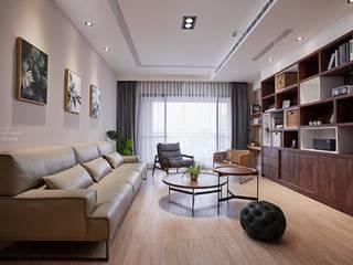 柔和光景 现代客厅設計點子、靈感 & 圖片 根據 長寬高空間設計 現代風
