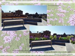 Terrazza privata nel centro di Roma Balcone, Veranda & Terrazza in stile moderno di Stefania Lorenzini garden designer Moderno