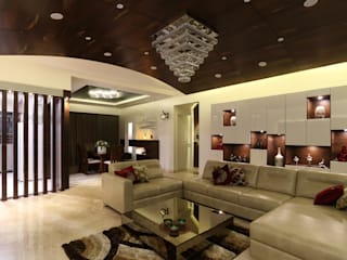 Classic Interior of Kumar Sienna, Magarpatta. Modern living room by AARAYISHH Modern