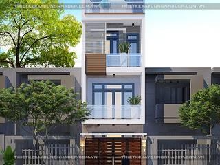 Thiết kế nhà 70m2 đẹp 1 trệt 2 lầu sân thượng hiện đại bởi Công ty cổ phần tư vấn kiến trúc xây dựng Nam Long
