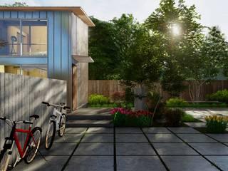 規格住宅 -TOGODESIGN CABIN- TOGODESIGN 北欧風 庭 コンクリート 灰色