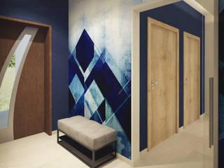 Geometria koloru Nowoczesny korytarz, przedpokój i schody od NELA JUST architektura wnętrz Nowoczesny