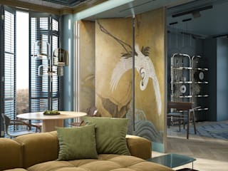 С азиатским акцентом naer interior Гостиные в эклектичном стиле Медь / Бронза / Латунь Янтарный / Золотой