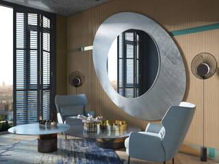 С азиатским акцентом naer interior Рабочий кабинет в эклектичном стиле Медь / Бронза / Латунь Янтарный / Золотой