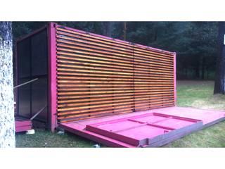AWA arquitectos Gastronomia in stile minimalista Metallo Rosa