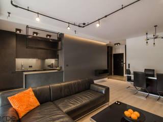 Apartament w stylu industrialnym Industrialny salon od Monika Hardej Architekt Industrialny