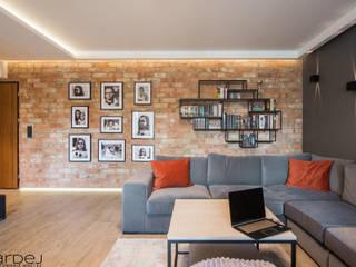 Mieszkanie w stylu loftowym Nowoczesny salon od Monika Hardej Architekt Nowoczesny