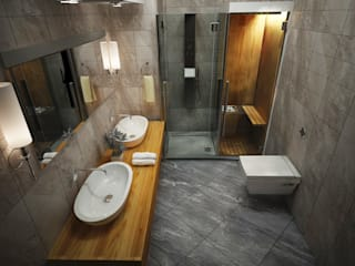 ARCONPROJE Modern bathroom Wood-Plastic Composite Grey