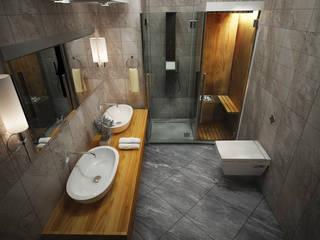 ARCONPROJE Modern style bathrooms Wood-Plastic Composite Grey