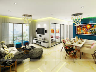 Modern 2 BHK Modern living room by Purpledesk Modern