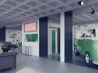 Industrial style car dealerships by Rafaela Fraga Brás Design de Interiores & Homestyling Industrial