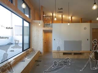 NMK 古墳の向こうに空が見える家 インダストリアルデザインの リビング の 塚野建築設計事務所 インダストリアル