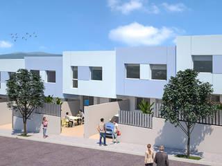 Alzado. Diseño de fachada de ARQUIJOVEN SLP Moderno Aluminio/Cinc